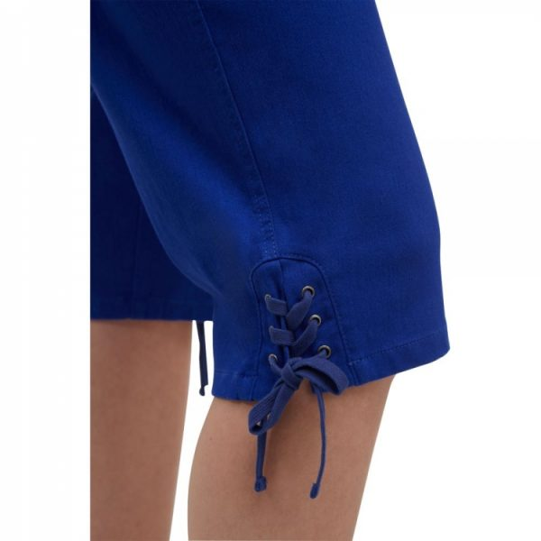 Alia Capris with side pockets, vack patch pockets, pull on elastic waistband, lace detail at hem in royal