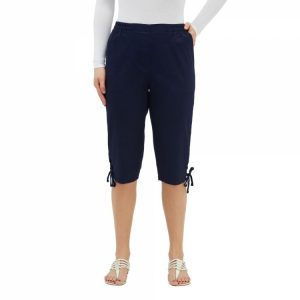 Alia Capris with side pockets, vack patch pockets, pull on elastic waistband, lace detail at hem in navy