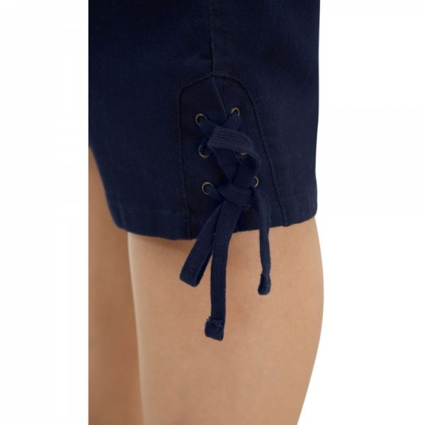 Alia Capris with side pockets, vack patch pockets, pull on elastic waistband, lace detail at hem