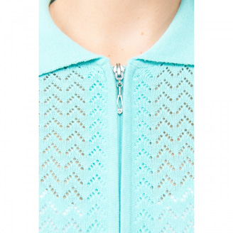 Close up of zipper and collar detail of Alia Zip Cardigan