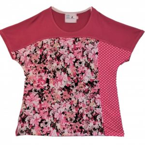 Dot and Rose pattern open back top with snap closure at neck