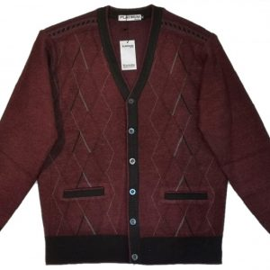 Burgundy Men's Cardigan with buttons