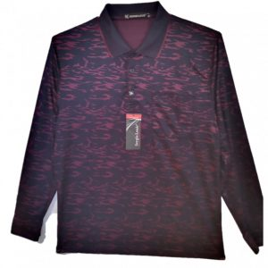 Burgundy Men's polo with pattern, collar and 3 buttons