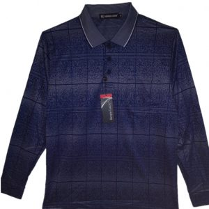 Navy Men's polo with pattern, collar and 3 buttons