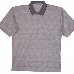 Grey Men's polo with pattern, collar and 3 buttons