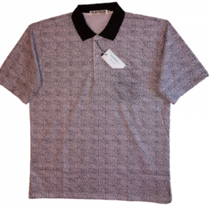 Black and mauve Men's polo with pattern, collar and 3 buttons