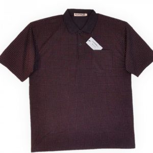 Burgundy and Black Men's polo with pattern, collar and 3 buttons