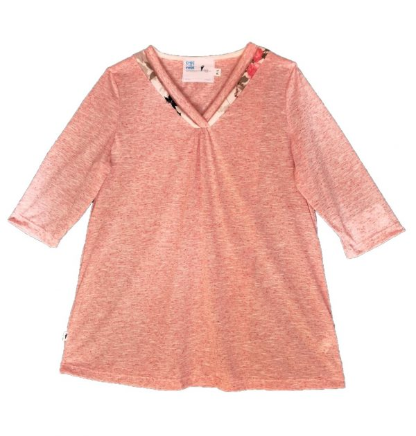 Ladies Adaptive top coral with floral neckline detail