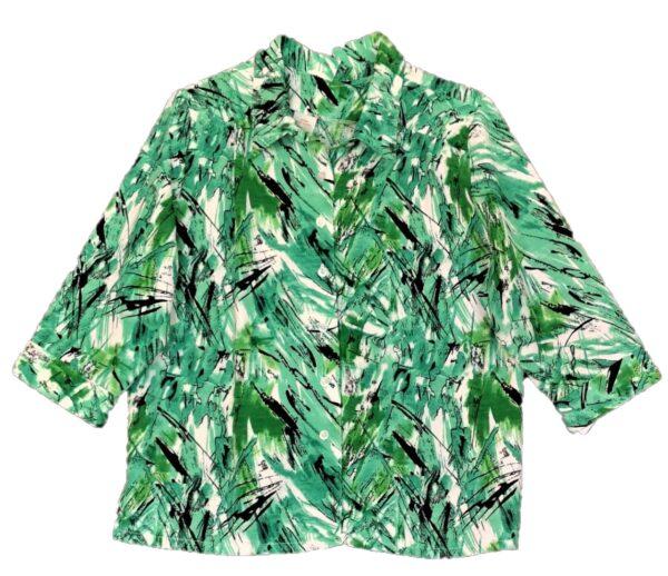 Green open back blouse