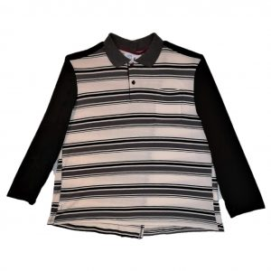 Mens adaptive polo black stripes
