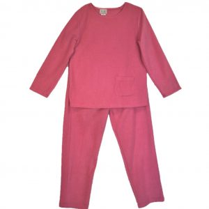 Ladies Open back pantsuit pink polar fleece