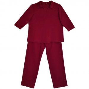 Open back ladies pantsuit maroon