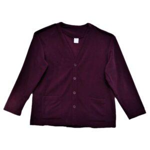 Mens open back fleece cardigan burgundy