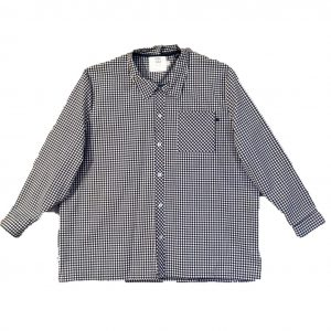 Plus size mens open back shirt navy check