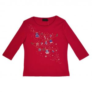 Ladies Christmas T shirt with decorations