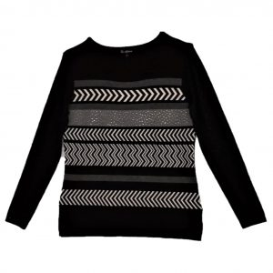 Ladies pullover black and grey pattern