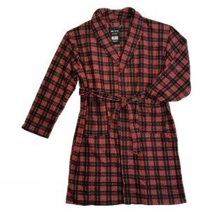 Mens fleece robe red plaid