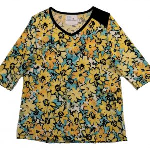 Ladies open back top with yellow flowers