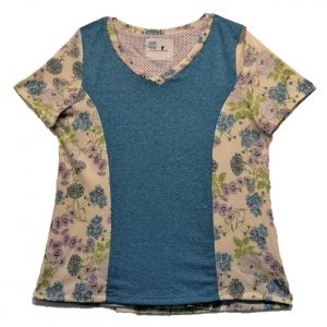 Ladies Open back top turquise and floral