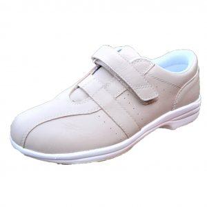 Ladies walking shoe beige with strap