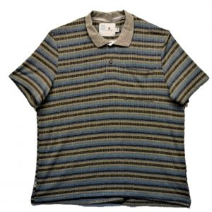 Mens open back short sleeve polo blue and grey