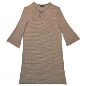 Open back nightie beige stripe
