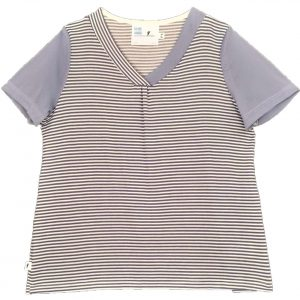 Ladies Open back top - denim stripe