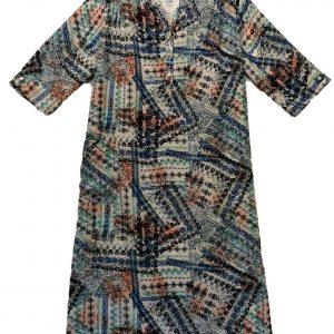 Adaptive dress aqua print