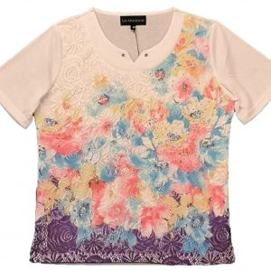 Ladies t shirt white with pastel flowers