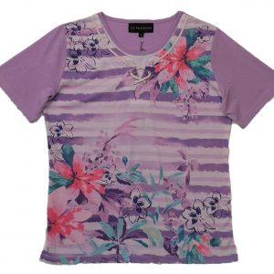 Ladies t shirt mauve stripes