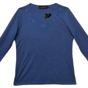 Ladies t shirt blue 3/4 sleeves